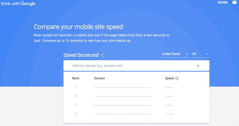test velocità sito mobile