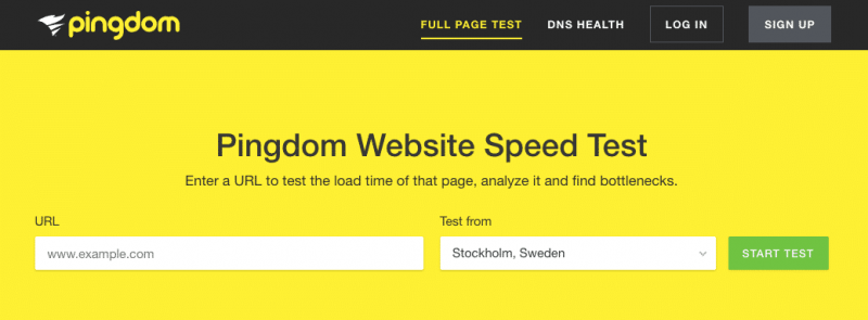 speed test sito web pingdom