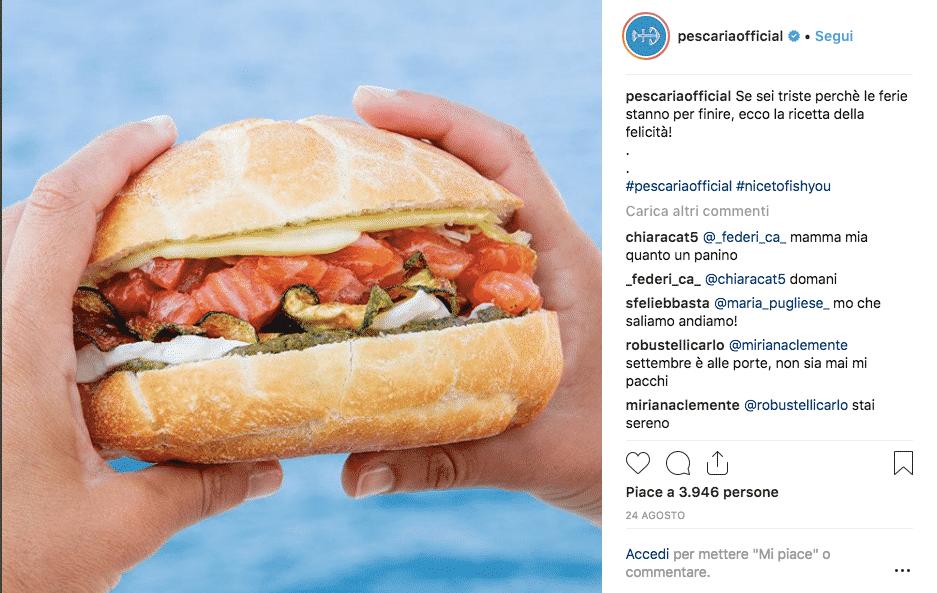 foto instagram per pubblicizzare ristorante online