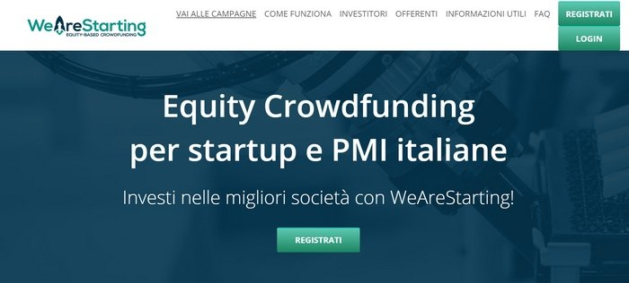WeAreStarting, piattaforma italiana di equity crowdfunding